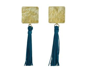 Long tassel earrings, petrol blue tassel stud, boho gold earrings, blue fringe earrings, statement earrings, large square studs, duster stud