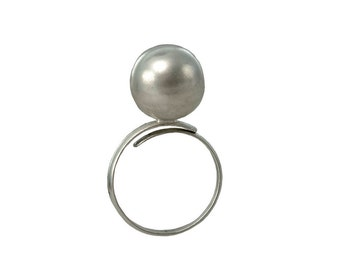 Sterling silver pinky ring, little finger ball ring, sphere band, dome ring, minimal jewelry, metallic jewelry, modern ring, gift under 35