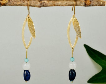 Long leaf earrings, hammered gold drops, navy bead earrings, agate long earrings, tagua earrings, nature inspired drops, women gift.