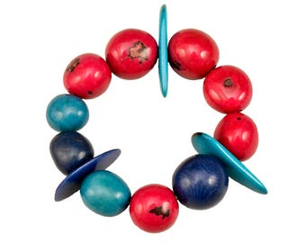 Chunky colorful bracelet, pink turquoise bangle, tagua jewelry, tribal bangle, eco jewel, handmade organic bracelet, spring cuff, women gift
