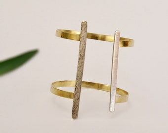 Mixed metals bangle, hammered large cuff bracelet, tribal jewel, african bangle, open circlet, minimal jewel, handmade women gift, wide cuff