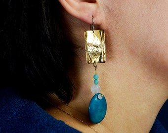 Duster gold earrings, tagua jewelry, turquoise bead drop, hammered earring, extra long earring, shoulder earrings, chunky statement earring.