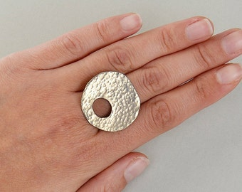 Chunky hammered ring, large asymmetric ring, plain bold ring, middle finger ring, contemporary ring, women gift idea, rustic jewelry.