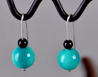 Tagua short earrings, turquoise silver drop, onyx jewelry, organic earring, vegetable ivory, ball earring, short dangle.