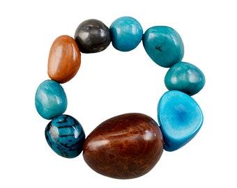 Tagua nut bracelet, turquoise bangle, big beads bracelet, large sphere cuff, elastic chunky bracelet, vegetable ivory, colorful big bangle