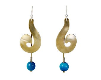 Gold spiral earrings,  turquoise long drops, chunky gold earrings,  tribal jewelry,  bulky drops, tagua jewelry, vegetable ivory.