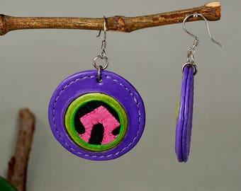 Circle drop earring, purple earring, leather jewelry, statement jewelry, big earrings, special jewelry, extraordinary jewelry, colorful drop