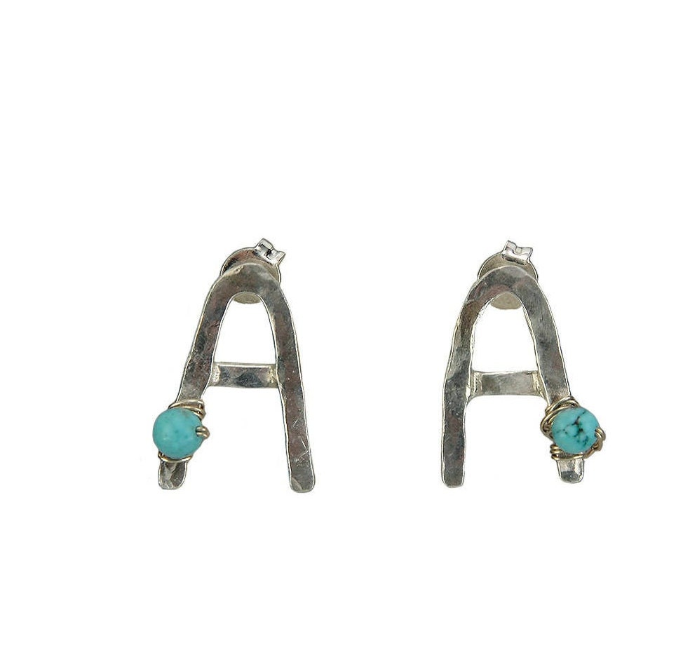 b880bfdef0cb9 Sterling silver letter custom stud earrings, turquoise personalized ...