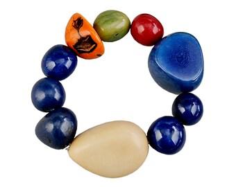 Tagua nut bracelet, navy blue bangle, large beads bracelet, big cuff, adjustable chunky bracelet, vegetable ivory, colorful bold bangle