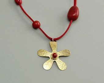Gold flower necklace, daisy necklace, margarita jewelry, red coral necklace free shipping jewelry, boho necklace, long red cord necklace,