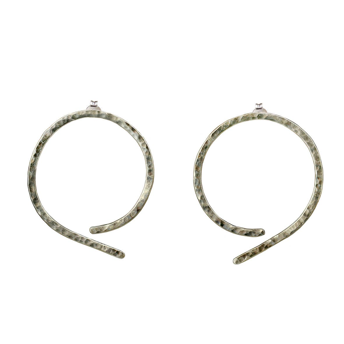 3ad5f90a9 Sterling silver thin hammered hoop earrings, simple large stud hoops ...