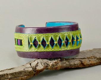 Purple leather bracelet, chunky cuff, ethnic jewelry, fat circlet, boho bangle, rainbow jewelry, women bangle, unique gift idea
