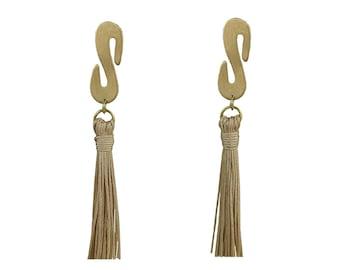 Gold tassel earrings, beige tassel stud, handmade boho earrings, custom fringe earrings, red tassel stud, long gold earrings, women studs