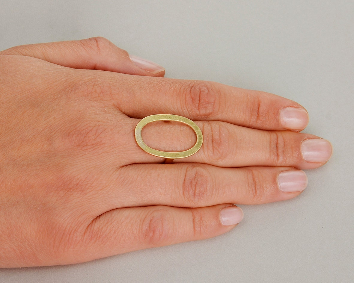 Open Oval Index Finger Ring Gold Or Silver Minimalist