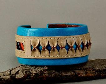 Turquoise leather bracelet, chunky cuff, ethnic jewelry, fat cuff, boho bangle, colorful jewelry, women bangle, unique gift idea