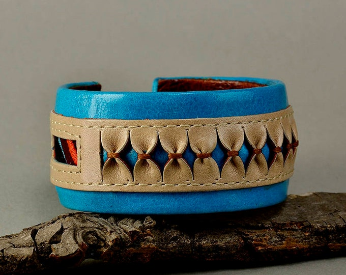 Featured listing image: Turquoise leather bracelet, chunky cuff, ethnic jewelry, fat cuff, boho bangle, colorful jewelry, women bangle, unique gift idea