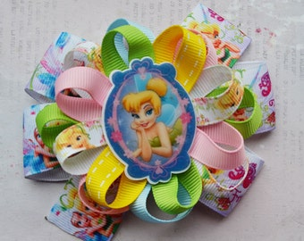 Tinkerbell party gift for girlfriend Tinkerbell birthday Toddler bows Baby girl headband Boutique bows Girl accessories Tinkerbell jewelry