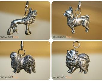 Pekingese Silver Keyring