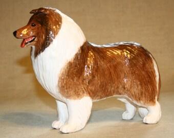 Collie, sheltie statue, figurine handmade of ceramic, statuette
