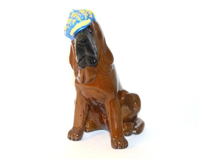 Bloodhound dog ceramic figurine handmade statue statuette