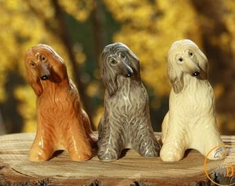 Afghan hound dog porcelain figurine handmade statuette