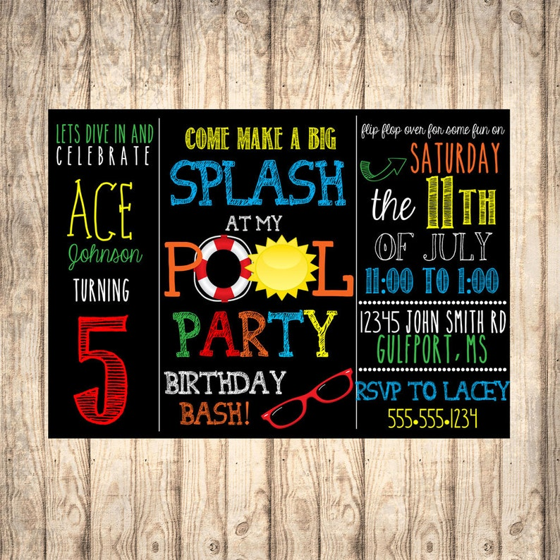 Boys Birthday Pool Party Invitation DIGITAL FILE