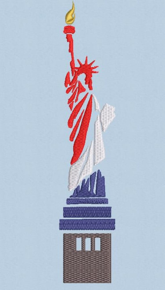 Statue Of Liberty Machine Embroidery Design Patriotic Lady Liberty United States Usa Red White Blue July 4th 3 Color Combinations