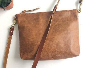 71b65bf0a3 Saddle Brown Leather Crossbody Bag