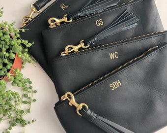 3bc3ccf7092 Monogrammed Black Leather Clutch // Personalized Bridesmaid Gift // Black  Leather Clutch //