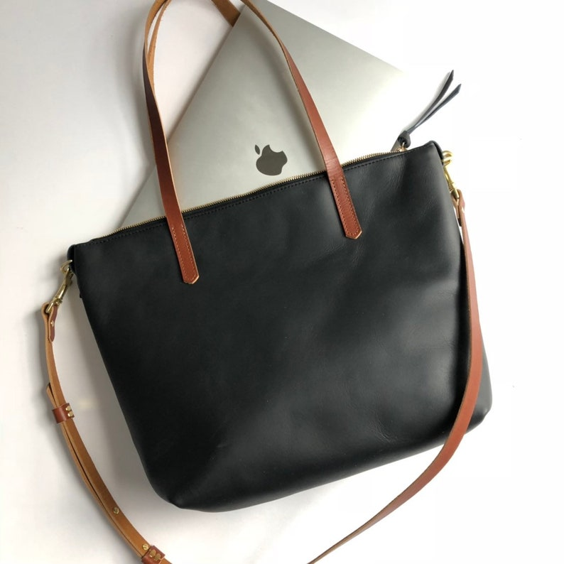 Black Leather Tote With Zipper   Crossbody Tote with Zipper