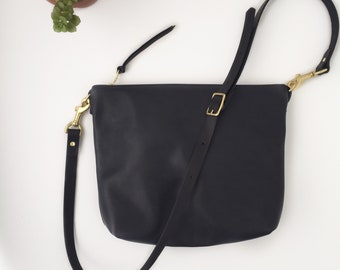 Black Leather Crossbody Bag // Hobo Bag // Leather bag