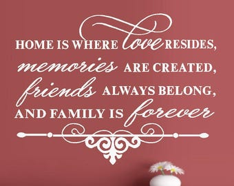 """Home is where love resides #2  - Wall or Window Decal 16"""" x 22"""""""