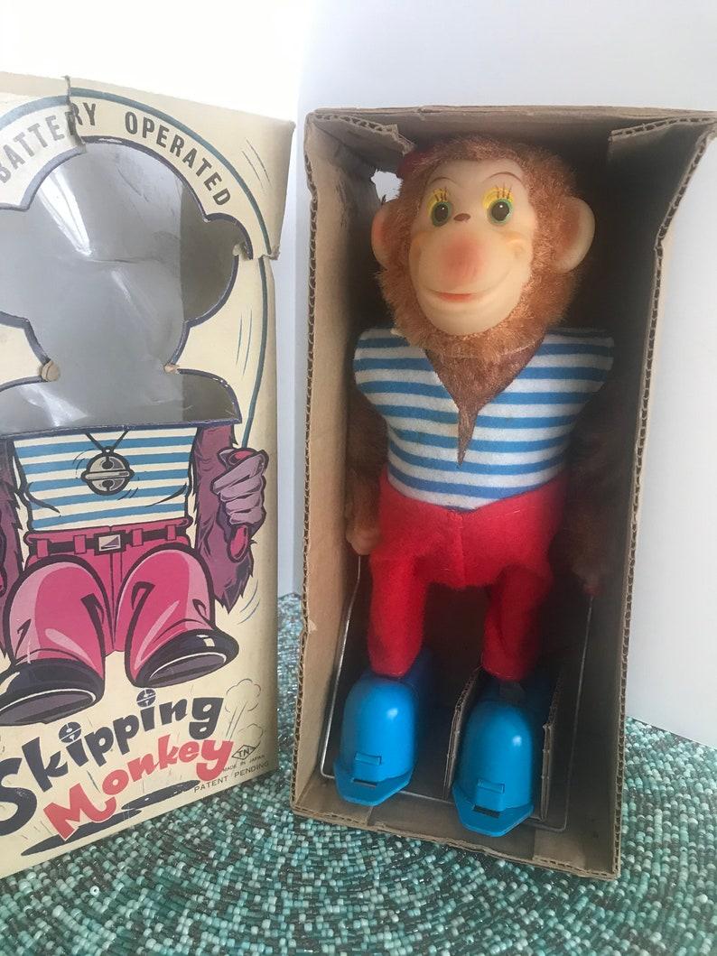 Rare Vintage Japan Retro 1960/'s Skipping Monkey Toy Jump Rope