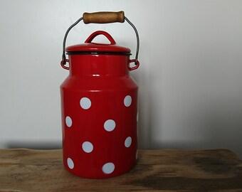 Vintage enamel pot, polka dot enamel milk pot, enamel milk container