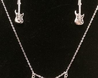 Guitar necklace, guitar earring, guitar music jewlery