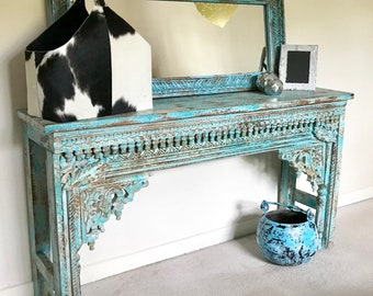 Antique Indian Hand Carved Distressed Wood Console Table Bohemian Rustic  Furniture Home And Living