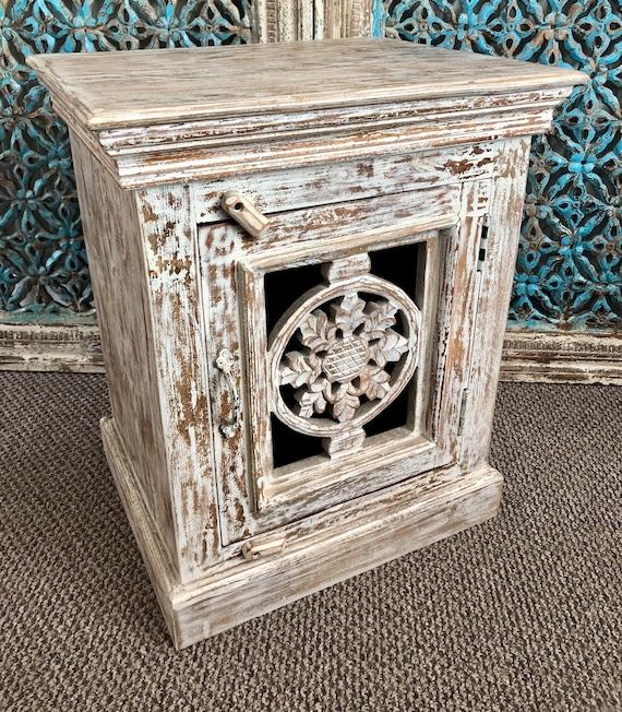 Indian Hand Carved Wooden Bedside, Carved Wooden Indian Furniture