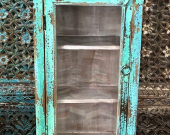 Antique Indian wooden painted wall cabinet, bathroom cabinet, kitchen cabinet, furniture, home and living