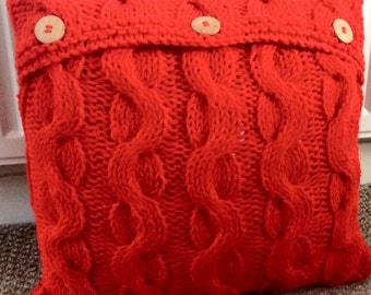 Chunky cable knit cushion, hand knitted cushion, decorative cushions, home accessories.