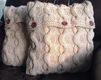 Chunky knit cushion, cable knit cushion, decorative cushion, soft funishings, 41 x 41cm (beige)