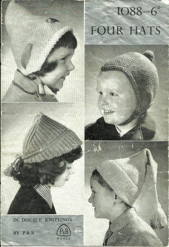 Four Childrens Hat Knitting Patterns | Etsy