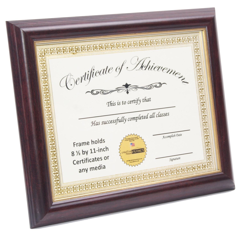 Mahogany with Gold Diploma Frame Displays 8.5x11-inch | Etsy