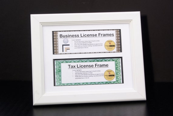 White Double Business License Frame for 3.5x8.5-inch Licenses