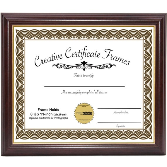 Mahogany With Gold Diploma Frame Displays 8 5x11 Inch Document Certificate Degree Graduation Bachelors Masters