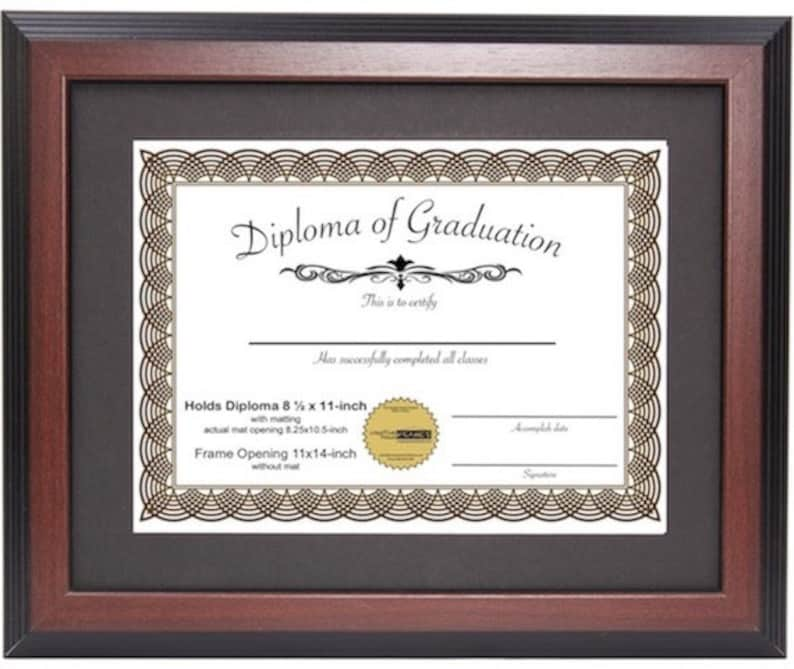 certificate frame frames diploma mahogany 11x14 mat displays inch 5x11 hanger document display easel molding documents graduation again hang