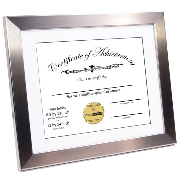 Diploma Certificate Frame Stainless Steel Displays 85 By 11 Etsy