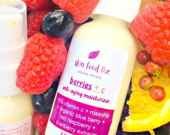 Vitamin C Skin Moisturizer Blue berry, raspberry, cranberry, rose hip seed for aging wrinkles collagen production crepey skin