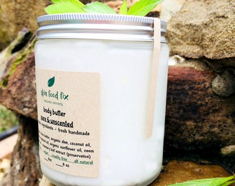 Body Butter Unscented No perfume sensitive   Organic Body Cream   Skin Brightening Refreshing Chemical Free  Recycled glass package