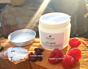 Safe Sunscreen Zinc Cream Sunblock Rosacea Eczema, All natural Raspberry Seed Oil Extract natural Sun UVA Protection Non Greasy Zinc