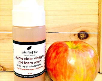 Skin Wash apple Cider Vinegar, Itchy skin or rash on hands soap for psoriasis redness all natural foam pump SHIPS in 1 DAY